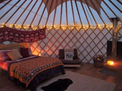 Yurt internal log burner